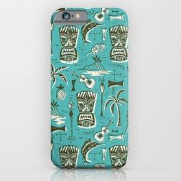 Tropical Tiki - Aqua iPhone Case