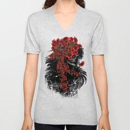 Rose skull girl Unisex V-Neck