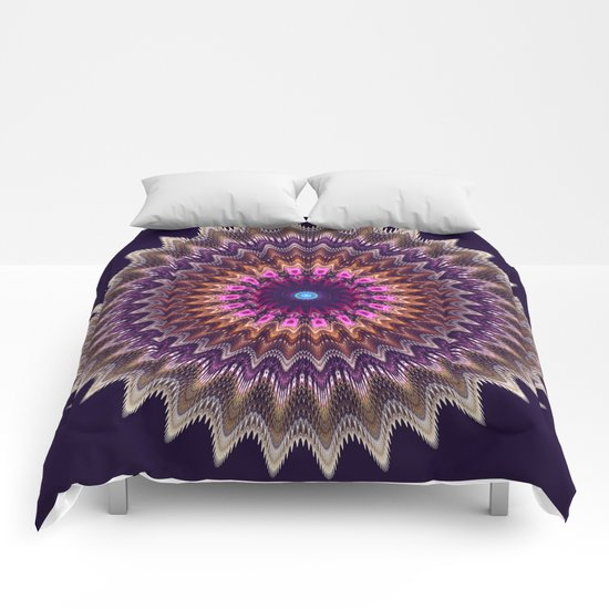 Groovy starry mandala with tribal patterns Comforters