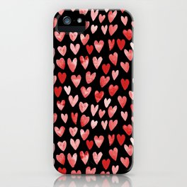 Watercolor Hearts pattern black red and pink minimal valentines day perfect gift for love iPhone Case