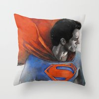 man of steel Throw Pillows featuring Man of Steel by Christine Chang