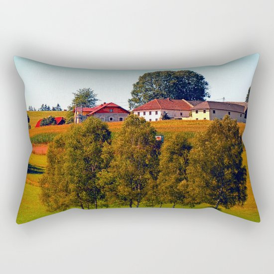 Guardian trees in front of a farm Rectangular Pillow
