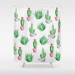 Pot plants with Cacti Pattern // Modern watercolor plants design Shower Curtain