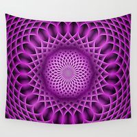 hot pink Wall Tapestries featuring Swirling Dreams, hot pink by MehrFarbeimLeben