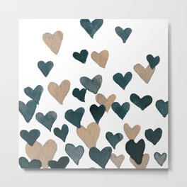 Valentine's Day Watercolor Hearts - neutral Metal Print