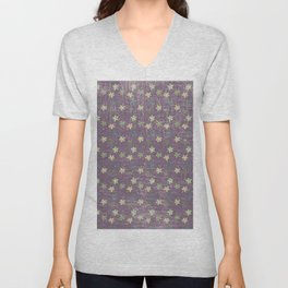 Vintage mauve purple green abstract leaves pattern Unisex V-Neck