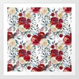 Boho Scarlett Blossom With Feathers on White Art Print