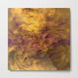 Burnt Copper Floral Clouds Metal Print