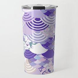 Nature background with japanese sakura flower, Cherry, wave circle. Ultra Violet Color of the Year Travel Mug