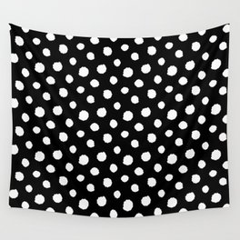Minimal - white polka dots on black - Mix & Match with Simplicty of life Wall Tapestry