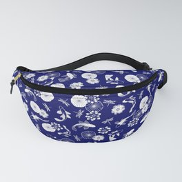 Koi Fish in Lotus Pond White on Blue Pattern Fanny Pack