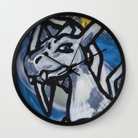 charizard Wall Clocks featuring charizard on a card by HiddenStash Art