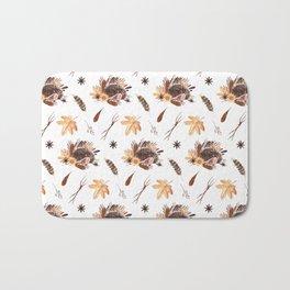 Cute brown pink orange yellow watercolor hedgehogs fall leaves Bath Mat