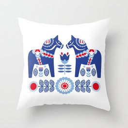 Blue Swedish Dalahäst Throw Pillow