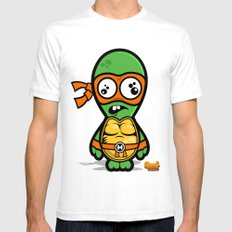 Teenage Mutant Dumb Turtles - Dumb Michelangelo Mens Fitted Tee SMALL White