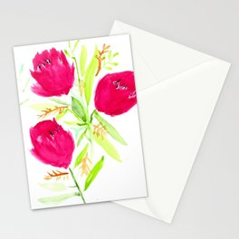 Watercolor tulips Stationery Cards