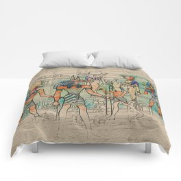 Egyptian Gods on canvas Comforters