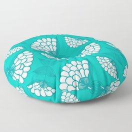 African Floral Motif on Turquoise Floor Pillow