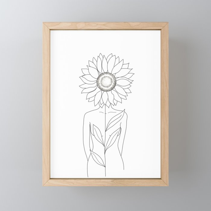 Minimalistic Line Art of Woman with Sunflower Framed Mini Art Print