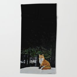 Red Fox of Algonquin by Teresa Thompson Beach Towel