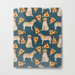 Yellow Labrador pizza cheesy slice of pizza food trendy pet gifts for yellow lab owners dog breed Metal Print