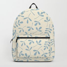 Assorted Leaf Silhouettes Blue on Cream Backpack