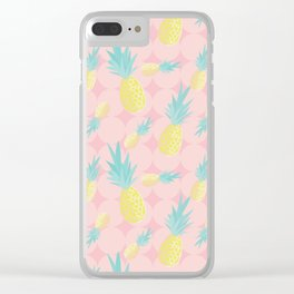 Pink + Pineapples Clear iPhone Case