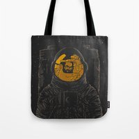 dark side of the moon Tote Bags featuring Dark side of the moon by Rodrigo Ferreira