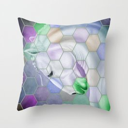 Rainbow Lusitano Mosaic Tiled Art Throw Pillow