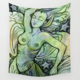 """Woman Resting to the Sea"" Wall Tapestry"