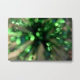 Green Sparkle Burst Metal Print