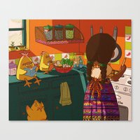cooking Canvas Prints featuring Cooking by Flor De Vita