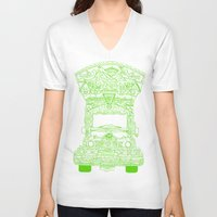 lime green V-neck T-shirts featuring Pakistani Truck. (Lime Green) by ApaAli.