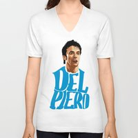 juventus V-neck T-shirts featuring Del Piero Name Blue by Sport_Designs