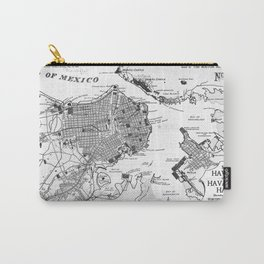 Vintage Map of Havana Cuba (1898) 2 BW Carry-All Pouch