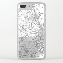 Vintage Map of Rhode Island (1827) BW Clear iPhone Case