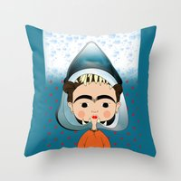 Throw Pillows featuring Tubarão Kahlo by Camila Oliveira