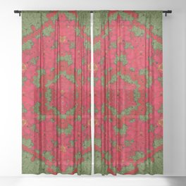 bloom in yule  mandala season colors Sheer Curtain