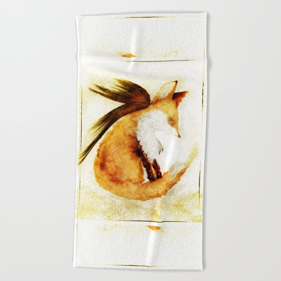 Winged Fox Sleeping Beach Towel