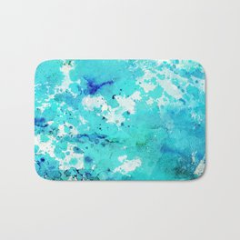Abstract modern teal blue watercolor paint pattern Bath Mat