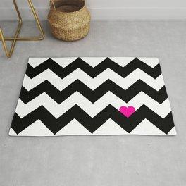 Heart & Chevron - Black/Pink Rug