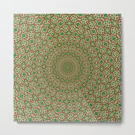 Two Tone Green With Red and White Christmas Kaleidoscope Metal Print