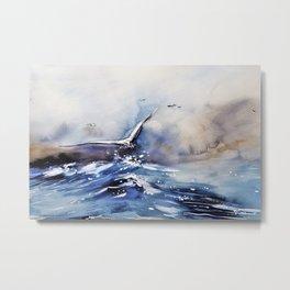 Art Painting Sea Storm Seagull Metal Print