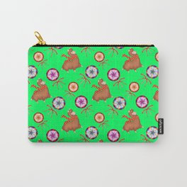 funny baby llamas, sweet vintage retro lollipops candy cute Christmas pattern Carry-All Pouch