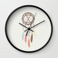 dream catcher Wall Clocks featuring Dream Catcher by 83 Oranges™