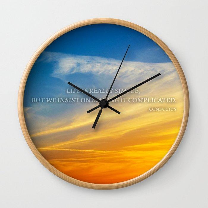 Sunset Confucius Quote Wall Clock