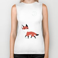 moon Biker Tanks featuring Moon Fox by Freeminds
