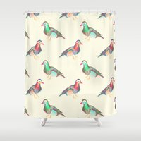 lsd Shower Curtains featuring LSD BIRDS by Michal Gorelick