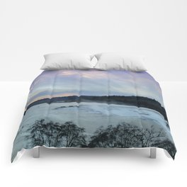 A CHILLY WINTER WILLAMETTE FALLS SUNSET Comforters