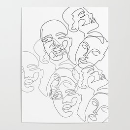 Lined Face Sketches Poster